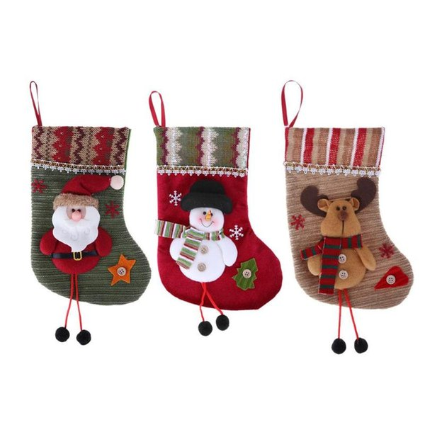 3D Creative Christmas Stocking Decoration Ornaments Cartoon Santa Claus Snowman Socks Christmas Decorations For Home Fireplace