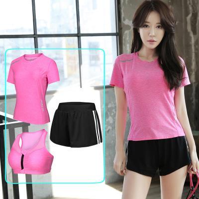 Confortável sportwear alta elástica conjunto completo mulheres shorts + short + sutiã mangas esportes yoga aptidão correndo absorver o suor secagem rápida