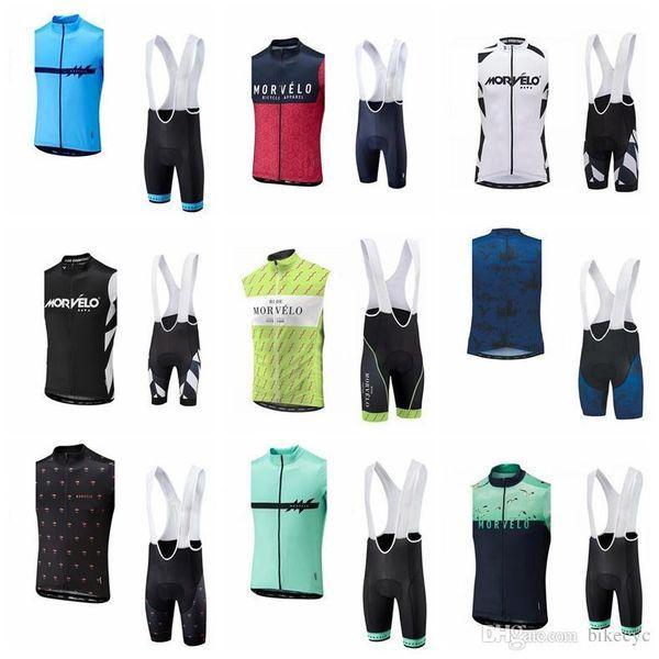 Morvelo team Cycling Sleeveless jersey Vest (bib) shorts sets Quick-Dry Bicycle men Sportwear Ropa Ciclismo wear Size: XS-4XL E2815