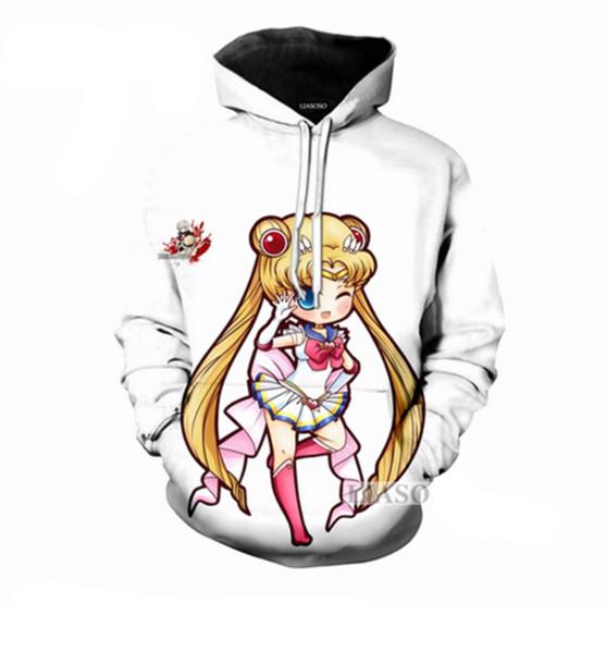 2018 Moda Kadınlar / Erkekler Animasyon Sailor Moon Karikatür 3D Baskı Rahat Hoodies Kazak R044