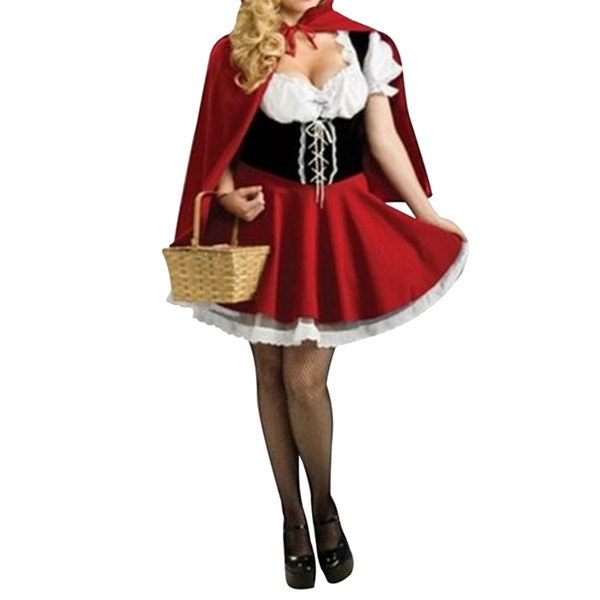 New Little Riding Hood Costume Halloween cosplay roupas femininas conto de fadas vestido de papel uniforme jogando Plus Size