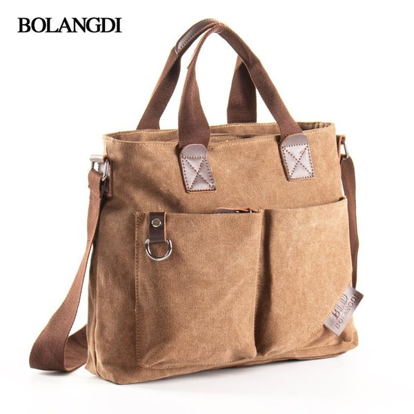 BLD Brand Men Canvas Vintage Casual Briefcase Business Shoulder Bag Messenger Bags Computer Laptop Handbag Bag Men's Travel Bags