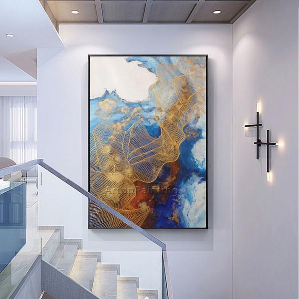 Acheter Peinture Acrylique Abstraite Peinte à La Main Toile Peintures à L Huile Or Bleu Quadro Décor Moderne Art Mural Photos Pour Salon Maison De
