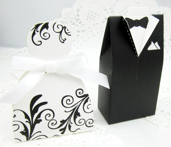 100pcs Bride and Groom Candy Boxes DRESS & TUXEDO Wedding Pattern Gift Box Christmas Anniversary Party Favors