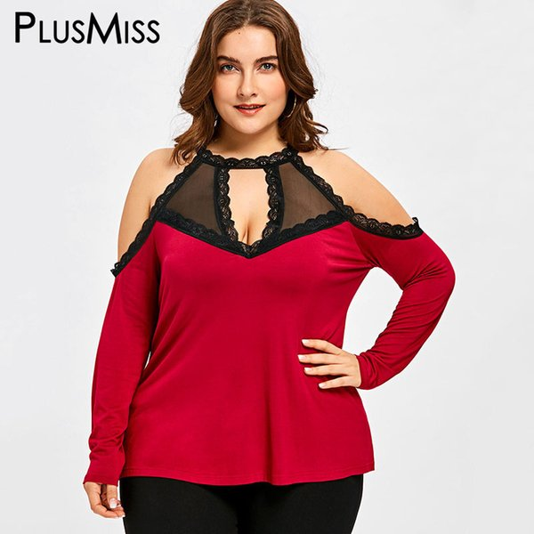 cc837618d3ee56 PlusMiss Plus Size 5XL Sexy Lace Cold Shoulder Tops Women Clothes Big Size  Summer 2018 Mesh