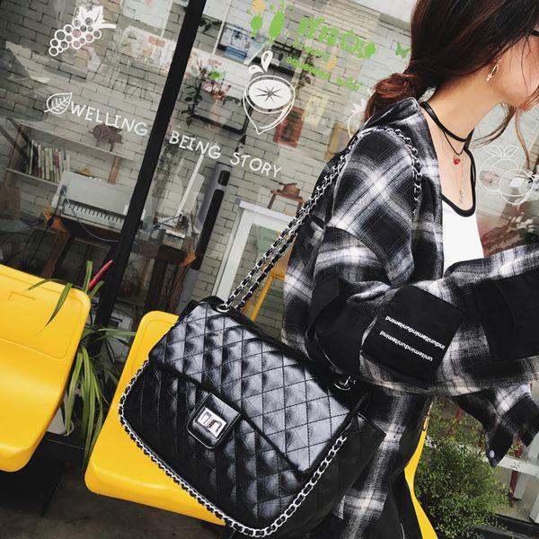 Women's big diamond chain bag classic shoulder handbag crossbody vintage lock bags girl's large messenger bag
