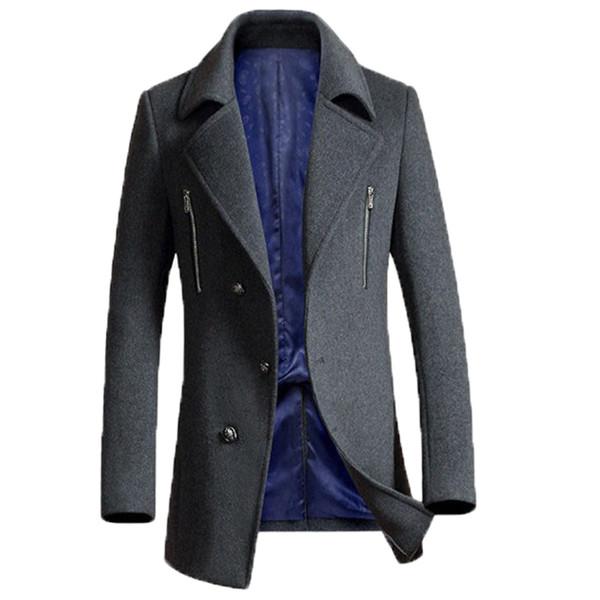 Warm Outwear Dünne Grau 3xl Beiläufige Ankunft Neue Mens 50Wolle Männer Schwarz Windproof Größe Großhandel Wollmantel Winterjacken Mantel Plus Marke UVpzMS