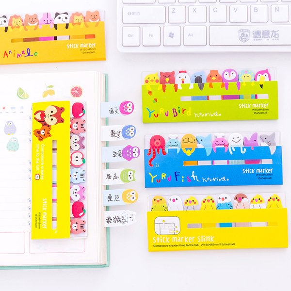 Corée Papeterie Créatif Animal Mignon Stand Post-it Note Learning Office Notes N Times Bloc-notes 15 * 8pages memopad