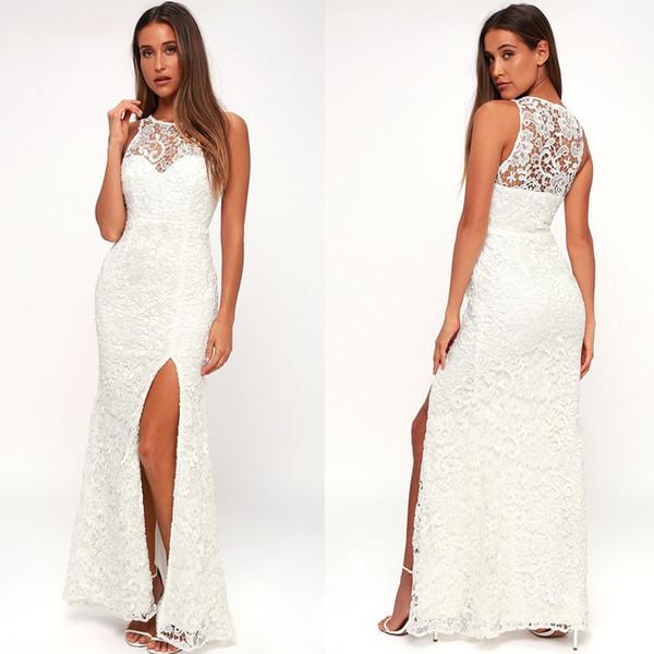 gorgeous Beach Destination Sleeveless Wedding or Reception Dress Side Slit Floor Length Petite Lace Bridal Dress