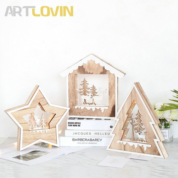 Nordic Children Room Decorations Wooden Carved Tree House Star Model With Deer Decorative Xmas New Christmas Figurine With Light