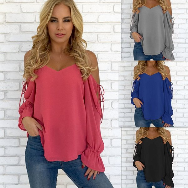 e1767223 Fashion Plus Size Chiffon Blouse 2018 Women Summer Beach Shirt With Ruffled Long  Sleeve Sexy Shirts