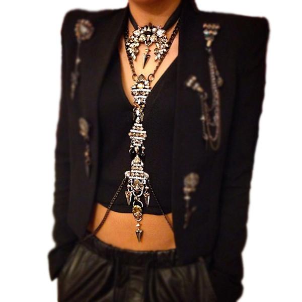 Vodeshanliwen chaîne de cristal de luxe collier de mode charme chaîne de taille de luxe maxi déclaration collier pour les femmes bijoux de corps