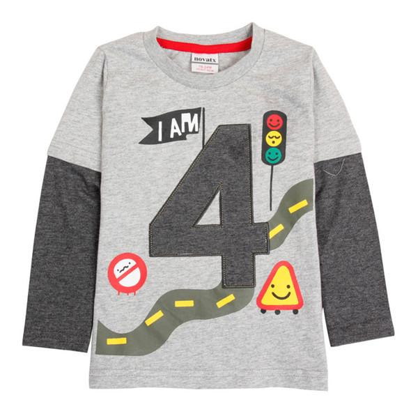 Free shipping gray 2018 Casual Boys Clothes Nova kids Fashion Cartoon Boy's T Shirt Spring/Autumn Long Sleeve T Shirt For Children Boy tops