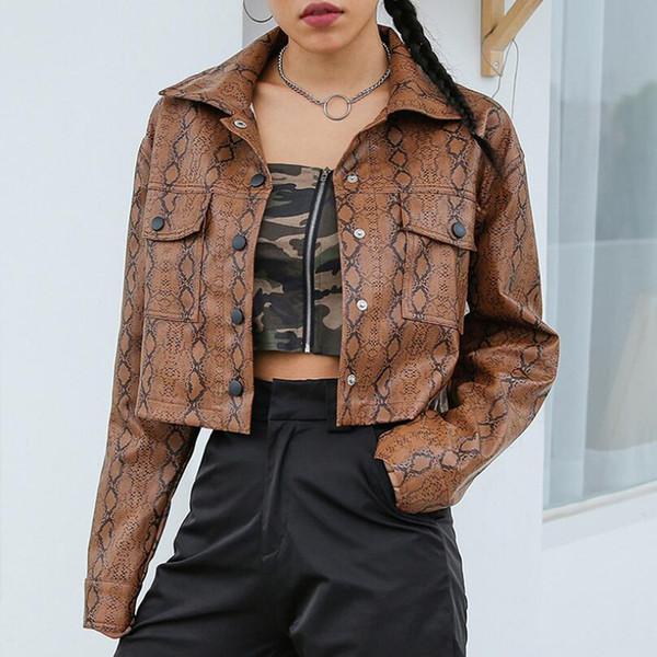 Großhandel Snake Print Lederjacke Frauen Harajuku Punk Button Oberbekleidung Damen Umlegekragen Kurze Grund Jacken Herbst Winter 2018 Von Vineger,