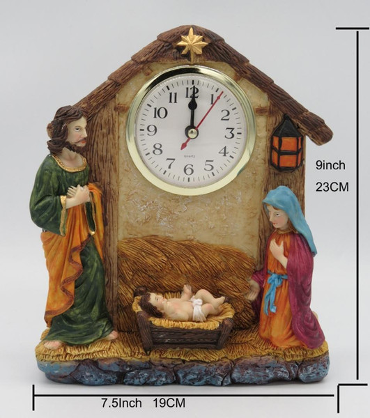 Hankroi Desk Clock Resin 9 Inches Height Table Clock Religious Theme Jesus Christ Holy Family Hand Painted