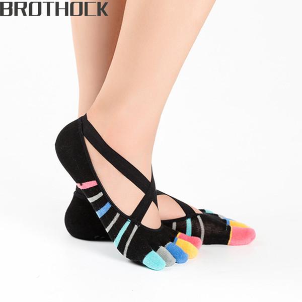 Brothock Factory direct cross straps five fingers yoga socks female cotton silicone anti-skid boat socks lace dance toe