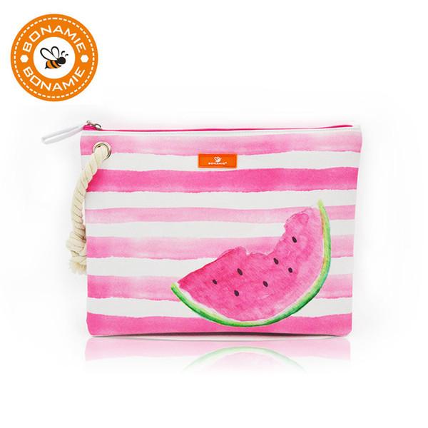 BONAMIE Wasserdichte Futter Strandtasche Seil Handtasche Frauen Mode Handtasche Meerjungfrau Flamingo Wassermelone Drucken Nass Bikini Tasche