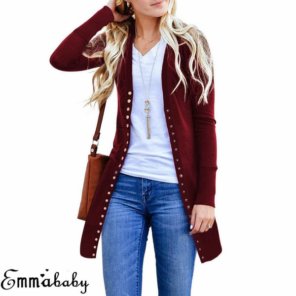 Ladies Casual Button Solid Long Outwear Women Autumn Long Sleeve Knitted Cardigan Sweater