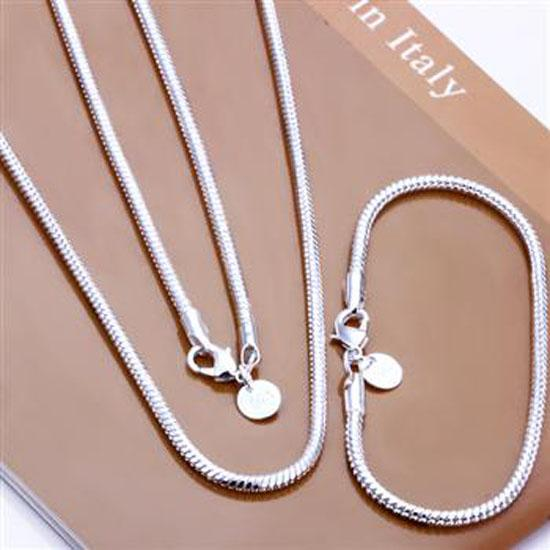 """best selling Fashion 925 Sterling Silver Set Solid Snake Chain 3MM Men Women Bracelet Necklace 16""""-24inch jewelry Link Italy 2018Hot sale New S076"""