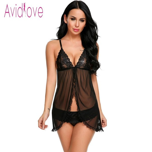 Avidlove Erotic Lace Underwear Sexy Lingerie Sexy Hot Erotic Babydoll Dress Women Lace Open Front Night Gown Mini Sex Clothing Y1890305