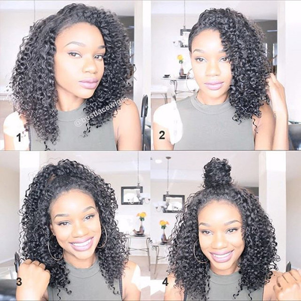 Silk Top 5x4.5'' Lace Front Wigs For Black Women Kinky Curly Brazilian Remy Silk Top Human Hair Wigs With Baby Hair