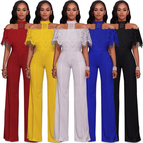 NEW White Jumpsuit For Women Sexy Fashion Stitching Lace Jumpsuit Women Clothes Long Sleeveless Back Zipper Boysuits Hollow Out