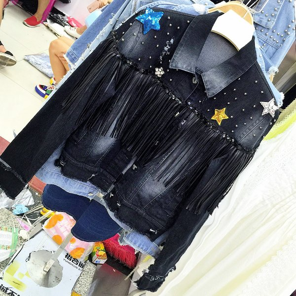 Autumn 2018 New Denim Jacket Star Sequins Pinnacle Bead Denim Short Jacket Women's Long Sleeve Tassel Jeans Jacekt Coats