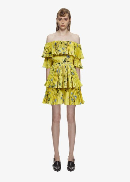 High Quality Self Portrait Dress 2019 Women Summer Bohemian Sexy Off Shoulder Yellow Floral Printed Pleated Beach Party Dress vestido
