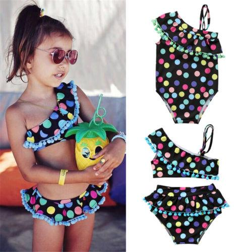 best selling Summer Baby Girls Swimwear Bathing Suit Kids Dot Tow-piece One-piece Bowknot Swimsuits Bikini Swimsuit Tassels Colorful Dots Beach Wear