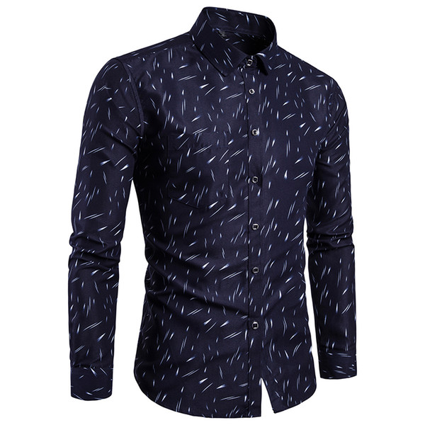 Yüksek Kalite erkek Elbise Gömlek Artı Boyutu Camisa Sosyal Masculina Manga Longa Slim Fit Estampa Akıllı Rahat Baskı Elbise Gömlek