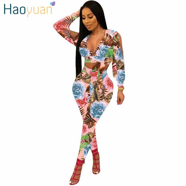 HAOYUAN 2 Piece Set 2018 New Sexy Summer Outfit Tops Manches Longues + Pantalon Moulant Sweat Suit Deux Pièces Ensemble Casual Survêtement