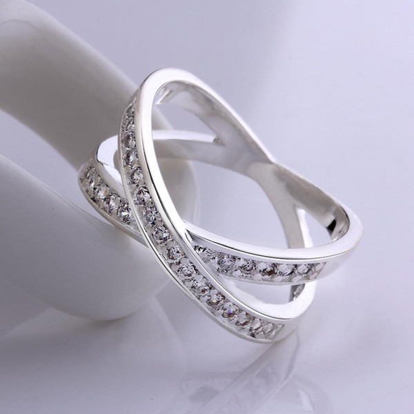 High Quality Romantic Jewelry Genuine Round Cut White Cz Ring For Women 925 Fashion Silver Plated Cross X Two Circles Ring Men