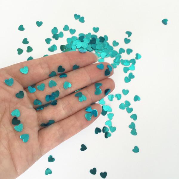 Tiny Sparkle Heart blu turchese Baby shower battesimo 1 ° Comunione Confetti Table Decoration