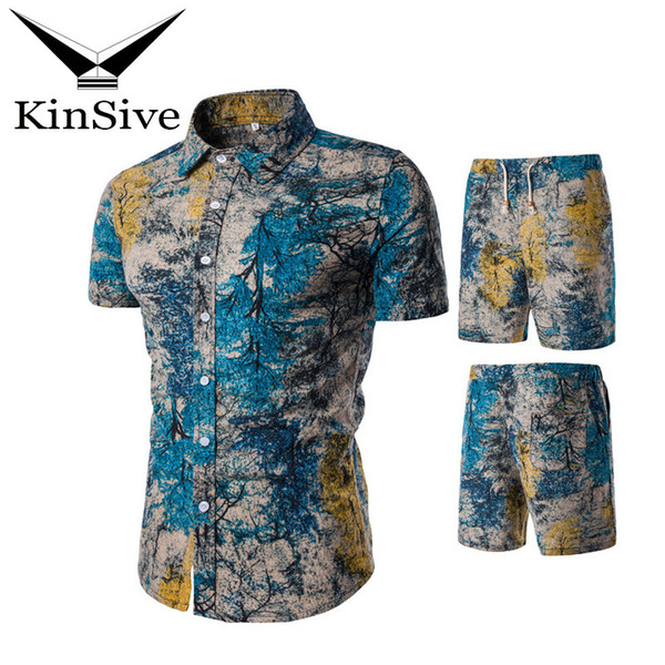 Brand Summer Tracksuit Men Shirts And Shorts Sets 2018 New Fashion Print Short Sleeve T shirt Beach Shorts Two Piece Sweat Suit