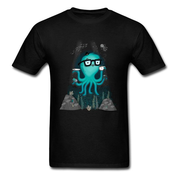 Nerd Octopus 2018 Funny Cartoon T Shirt Deep Sea Geek Men Clothing Summer Black T Shirt Interesting Vintage Comic Printed