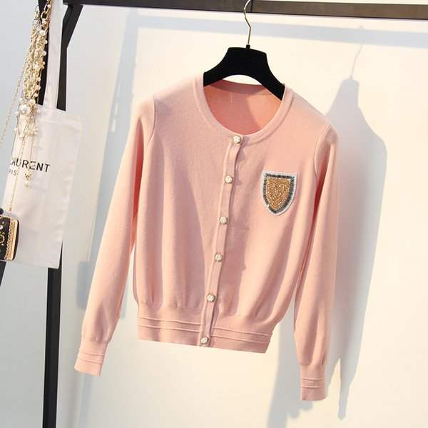2018 autumn new style, small wind, nail, bead, sequins, badge, Pink Knitted cardigan, long sleeved sweater, coat.