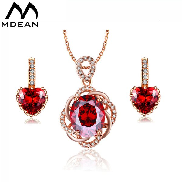 MDEAN White Gold Color Heart Red Gem Wedding Jewelry Sets Red AAA Zircon Engagement Hoop Earring + Pendant Fashion Accessories