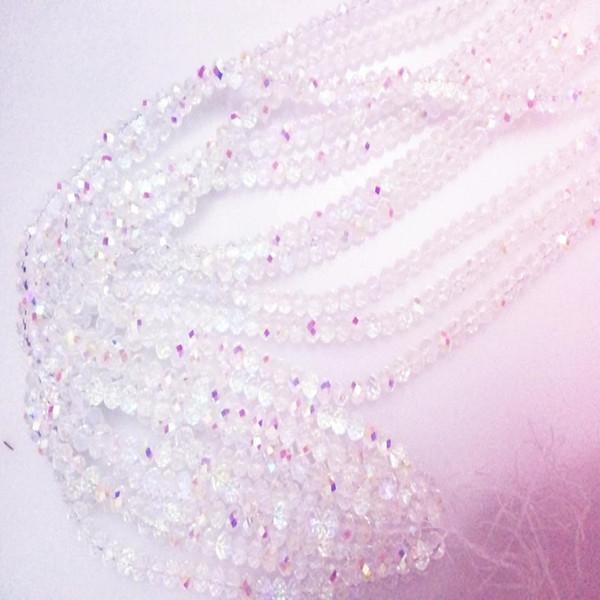 68 perline / filo colorato brillante vetro bianco rondelle sfaccettato perline di cristallo per monili che fanno accessori moda fai da te