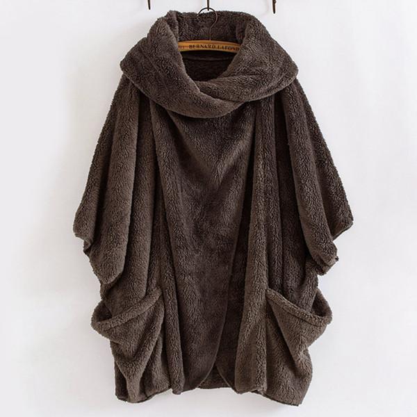 Women Plush Bat Sleeve Cardigan Sweater Fashion Turn-Down Collar Ladies Fleece Loose Outwear Cardigans Long Autumn Winter Tops