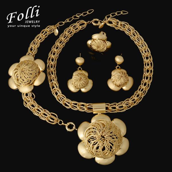 whole sale2017 Fashion Choker Jewelry Sets Big Flower Pendant Necklace Earrings Bracelet Dubai Gold Color African Costume Jewelry Sets