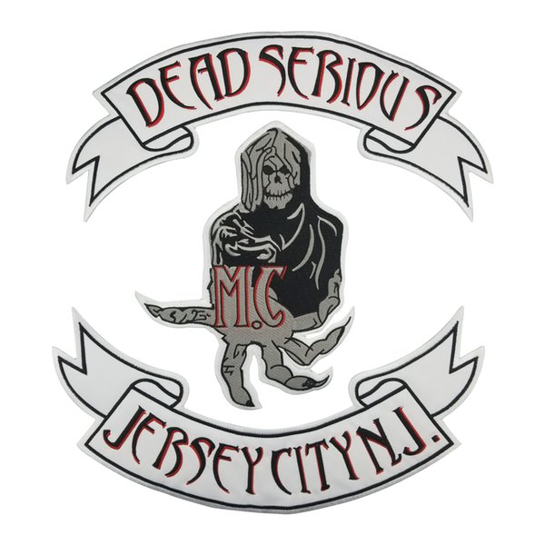 DEAD SERIOUS Skull MC Club Biker Vest Embroidered Patch Full Back Large Pattern For Rocker Biker Vest Patches for clothing Free Shipping