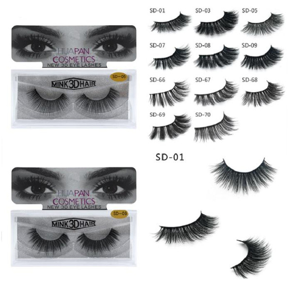 top popular New Brand HUAPAN 3D Mink Eyelashes Eyelashes Messy Eye Lash Extension Sexy Eyelash Full Strip Eye Lashes 3001324 2020