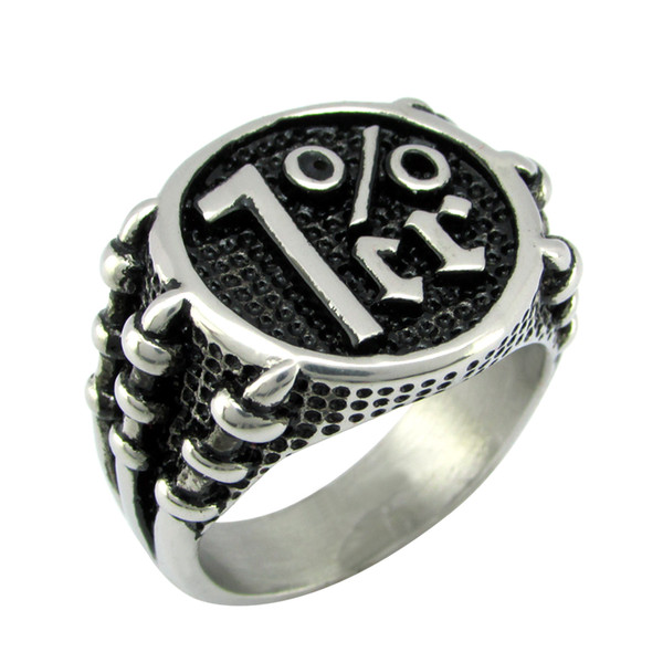 Free Shipping ! Punk Silver White Black color 316L Stainless Steel Claw 1%er Ring One Percent Men's Number Rings Jewelry