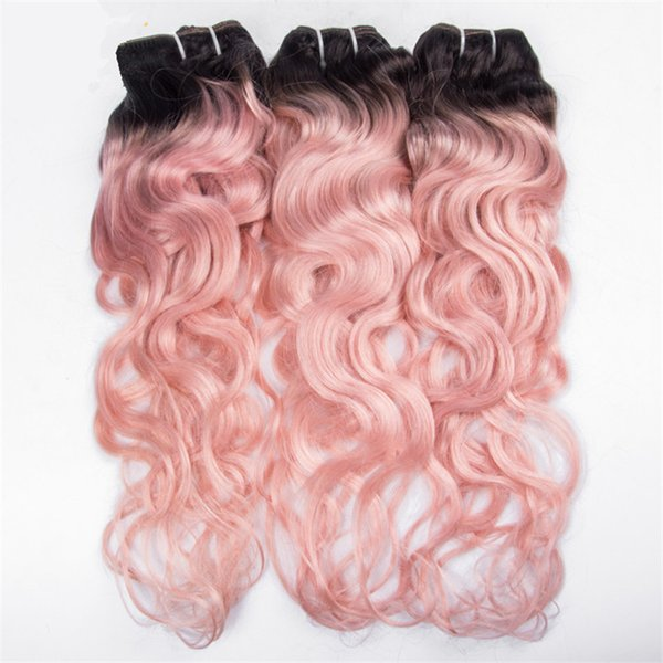 Pink Wavy Peruvian Virgin Human Hair Bundles Two Tone 1b Pink Ombre Hair Weave Deep Wave Curly Hair Weft 3Pcs/Lot