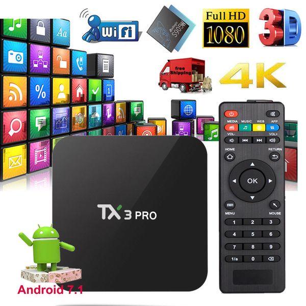 S905W Inteligente TV Box Android 7.1 TV 4K Box TV TX3 Pro Suporte Lan WiFi 4 K vídeo 3D filmes Media Player