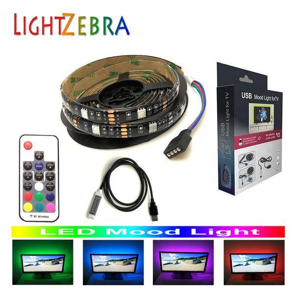 Controlador remoto inalámbrico RF de 17 teclas LED tira de luz ambiental USB 5050 RGB 200 cm 60 LED para TV Base de monitor de PC 5V con alimentación USB