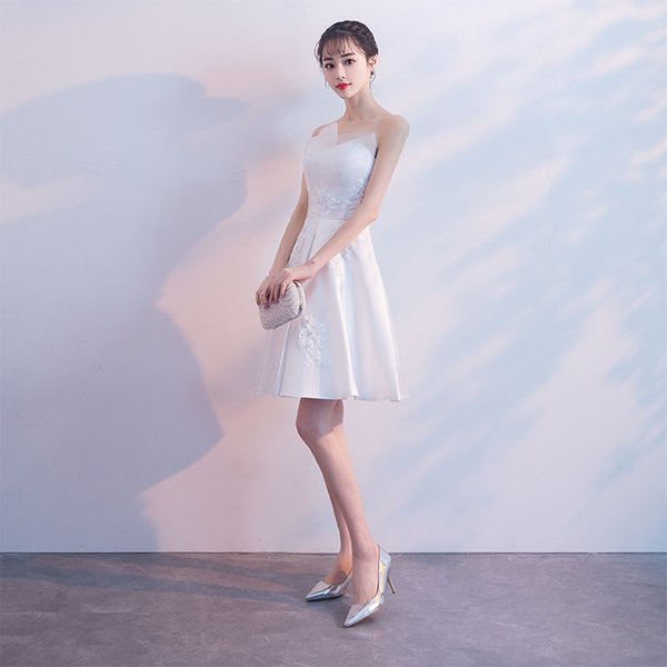 New Sexy Short Homecoming Knee Length Cocktail Dresses Evening Wear White Evening Dressess A-line Formal Prom Party Dress Gowns with Beaded