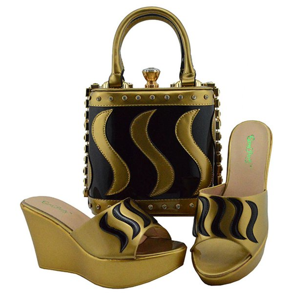612dc5f1e89 New Shop 50% Discount Gold with Black Color New Splice Design for Nigerian Women  Wedges