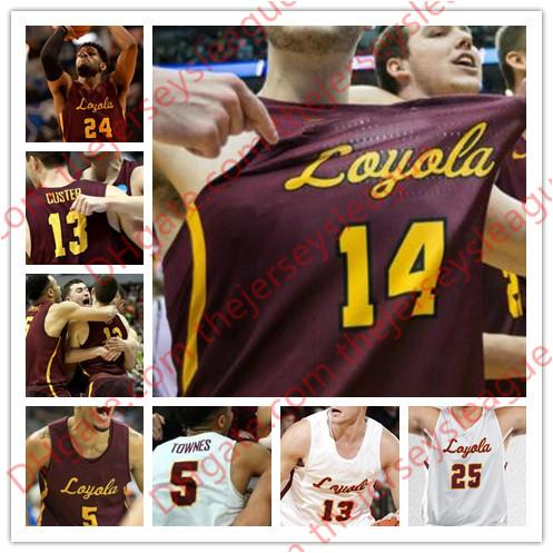 Loyola Chicago Ramblers #0 Donte Ingram 1 Lucas Williamson 5 Marques Townes 24 Aundre Jackson White Red NCAA College Basketball Jersey S-4XL