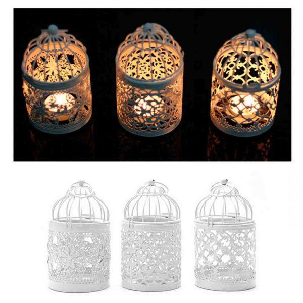 Weiß 3 Arten Metall Hohl Kerzenhalter Teelicht Kerzenhalter Hängende Laterne Vogelkäfig hauptdekoration laternen